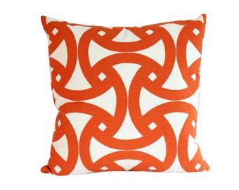 Santorini Orange Geometric Pillow Cover, Schumacher Fabric