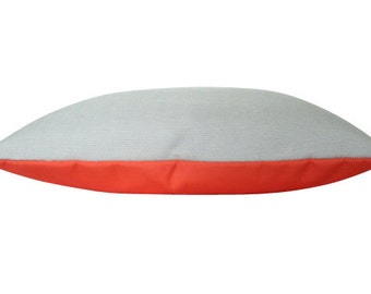 Two Toned Melon Orange and Grey Outdoor Pillow Cover in Sunbrella Fabric