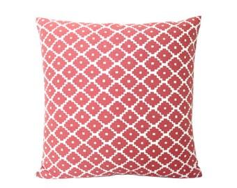 Ready to Ship -- Ruby Red Ziggurat Schumacher Pillow Cover