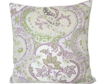 Lilac and Green Pickfair Paisley Designer Pillow Cover- Schumacher fabric