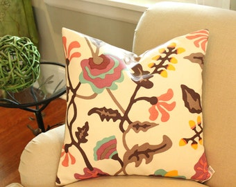 Ready to Ship -- Alan Campbell Potalla Pillow Cover with Coral, Raspberry, Blue and Brown Quadrille Fabric