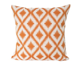 Ready to Ship -- Robert Allen Orange Ikat Fret Pillow Cover