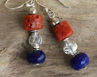 Natural coral and Lapis Lazuli faceted 925 Sterling Silver earrings