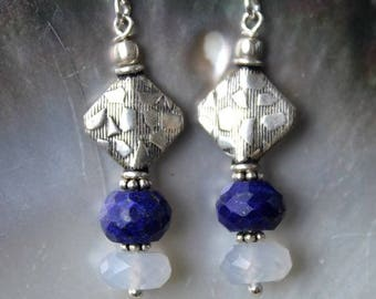 Earrings style ethnic silver primer faceted lapis lazuli and chalcedony