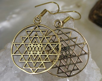 Earrings ethnic geometry sacred flower of life brass shantilight