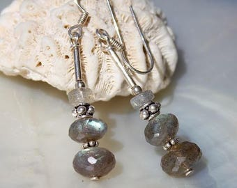 Faceted Labradorite and 925 Sterling Silver earrings