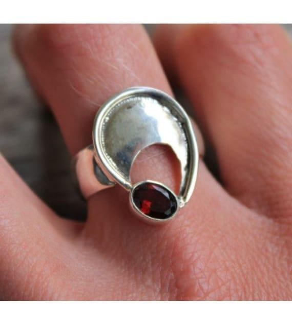 Vintage silver ring stone natural amazonite and Garnet Shantilight