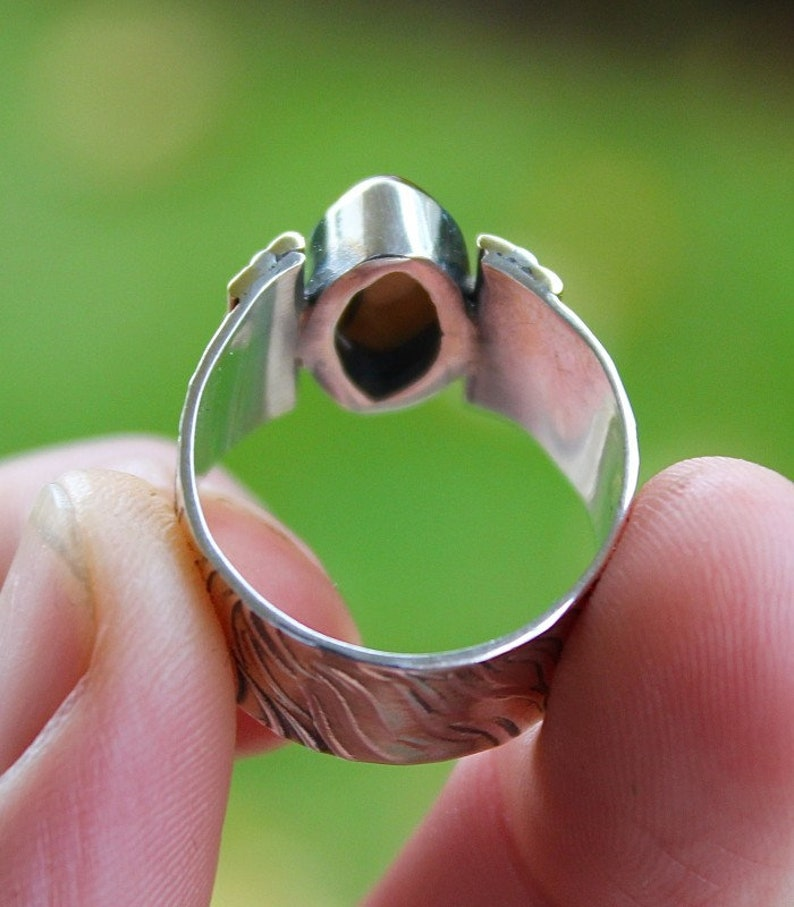 Silver ring textured crimping brass modern jewelry Shantilight