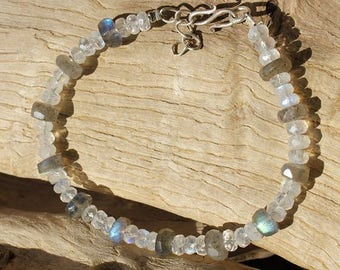 Faceted Labradorite and Moonstone 925 Silver Clasp bracelet
