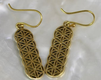 Earrings metal brass geometry sacred flower of life shantilight