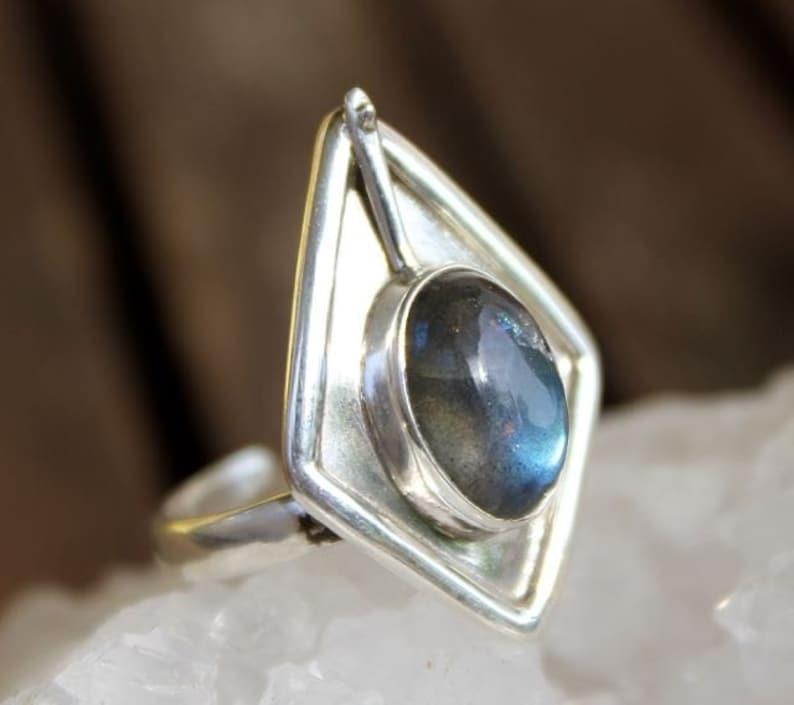 Ring silver jewelry ethnic African tribe stone Labradorite Shantilight