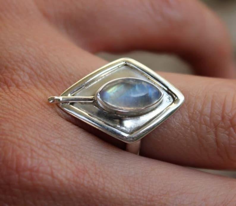 Silver ring ethnic jewelry chic moonstone Shantilight