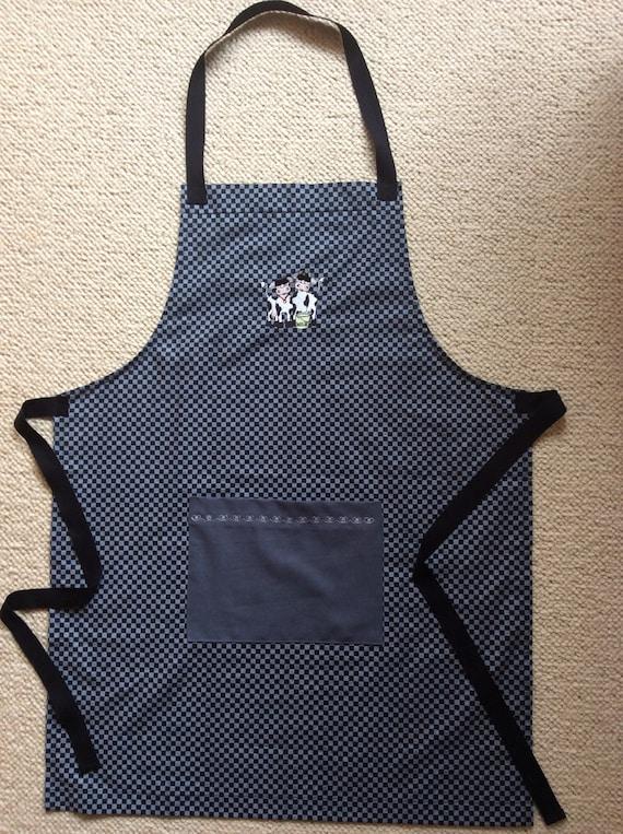 Christmas Cow embroidered doble pocket apron