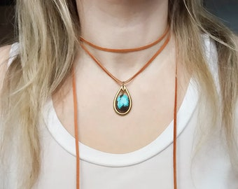 Genuine Turquoise and leather necklace Leather wrap necklace Boho jewelry Leather wrap choker Boho necklace Leather and turquoise necklace