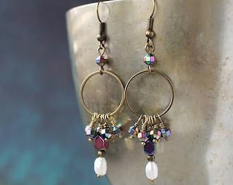 Pearl Dangle earrings Boho jewelry Beaded Boho earrings Bohemian jewelry Chandelier earrings Bohemian earrings Pearl drop earrings boho