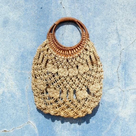 vintage bag, market bag, macramé bag, shoulder bag