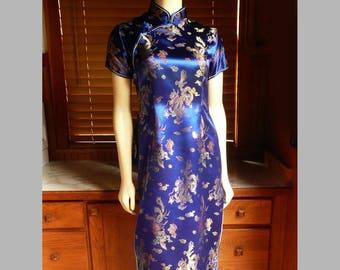 Vintage 80s Mei Gui Blue Silk Dragon Cheongsam Asian Mandarin Dress S tagged L