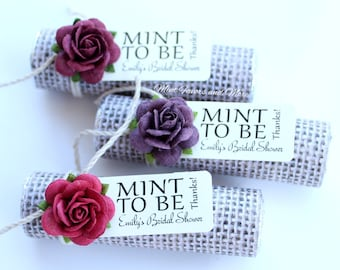 Mint to be favors with personalized tag - set of 24 wedding favors, burlap, rustic, fall theme, autumn, chic, country wedding