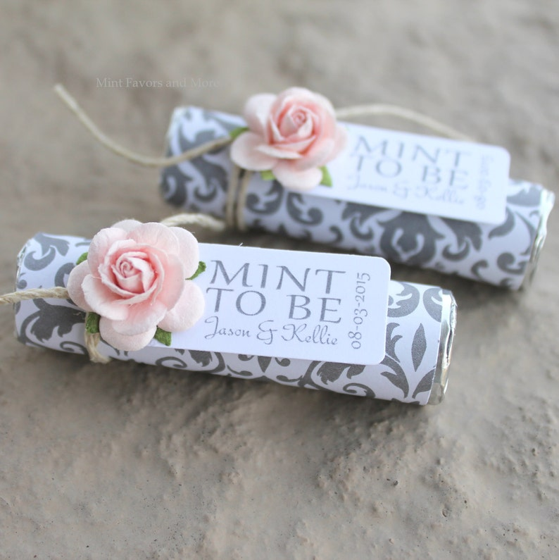 Mint to be favors with personalized tag silver and pink blush wedding unique favors Mint wedding Favors Set of 100 mint rolls