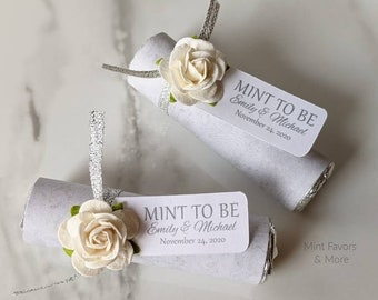 White wedding, mint to be favors with personalized tag, elegant wedding mints with white roses and silver ribbon, mint favors