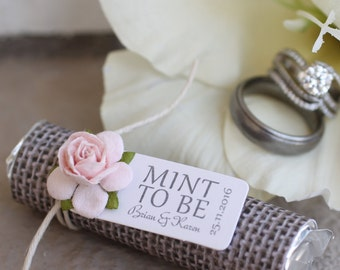 Blush wedding, mint to be favors with personalized tag, wedding mints, burlap theme with blush rose, shabby chic vintage wedding