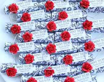 Set of 35 favors, decorated mints with personalized tag