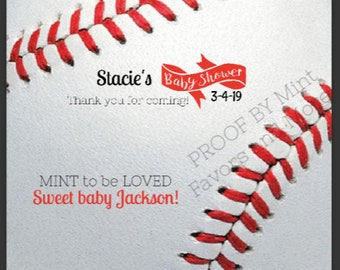 Personalized favors, baby shower, baseball themed mint rolls with personalized label