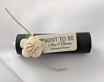 Rehearsal dinner favors, mint to be favors with personalized tag, wedding mints