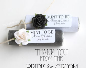 """Edible wedding favors - Set of 60 mint rolls - """"Mint to be"""" favors with personalized tag - black and white wedding details"""