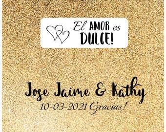 Wedding favors, El AMOR es DULCE candy favors, love is sweet, wedding mints, gold wedding favors