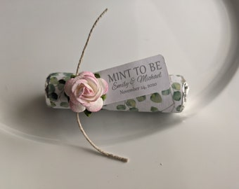 Eucalyptus wedding, mint to be favors with personalized tag, wedding mints, greenery wedding theme, edible favors
