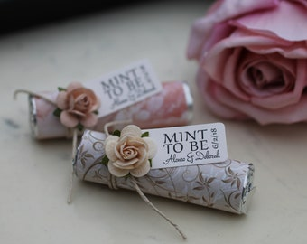 Set of 35 favors, decorated mints with personalized tag, blush and ivory wedding details