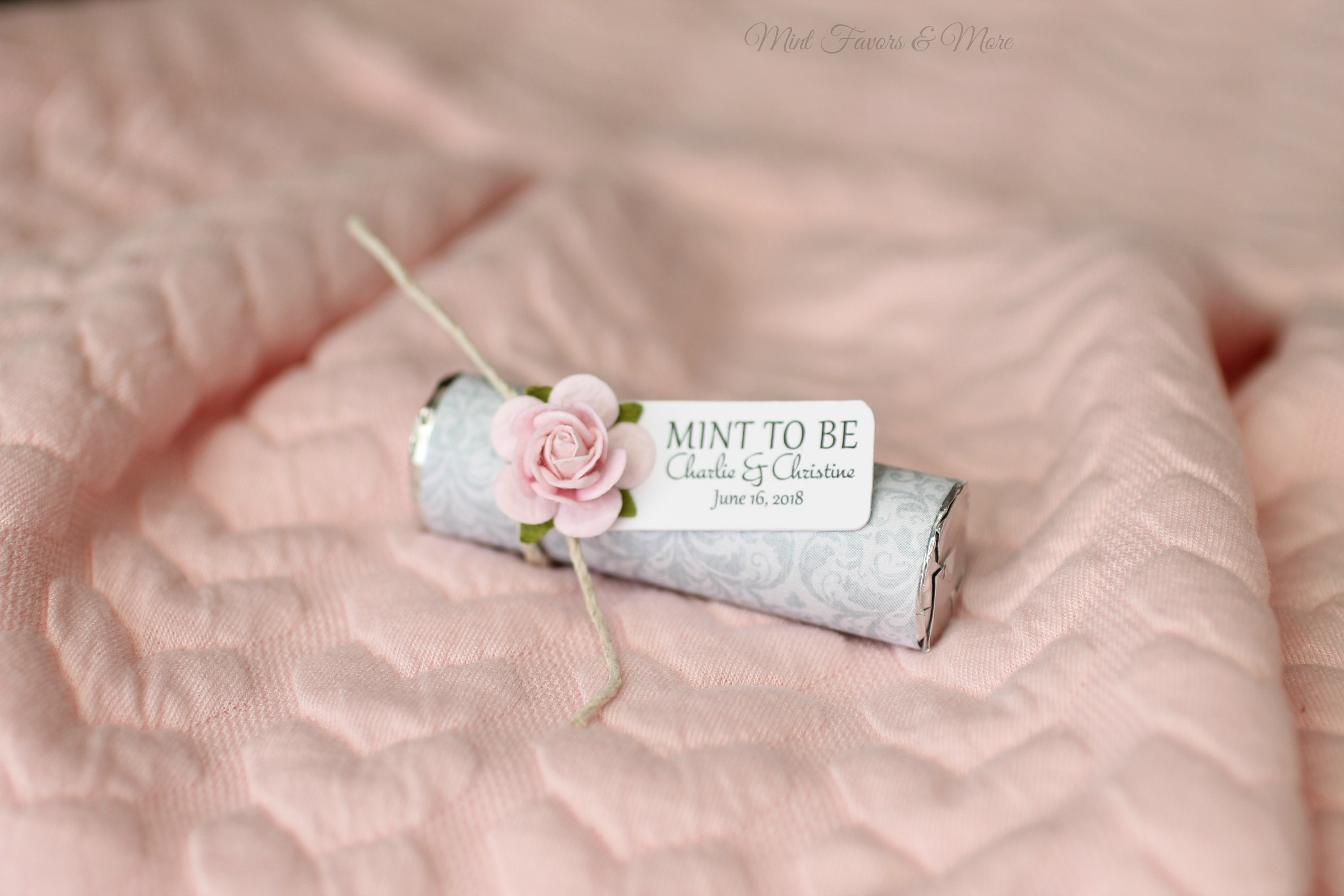 blush wedding mint to be favors with personalized tag