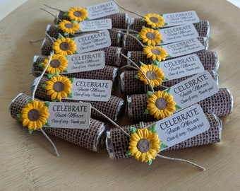 Party favors - Set of 150 mint rolls - mint favors with personalized tag - burlap theme, sunflowers, wedding or graduation party
