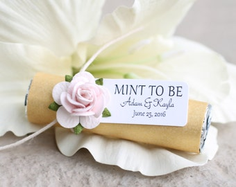 Engagement party favors - Set of 24 mint rolls w/ personalized tags, gold party, pink roses, gold and pink party, wedding mints, mint to be