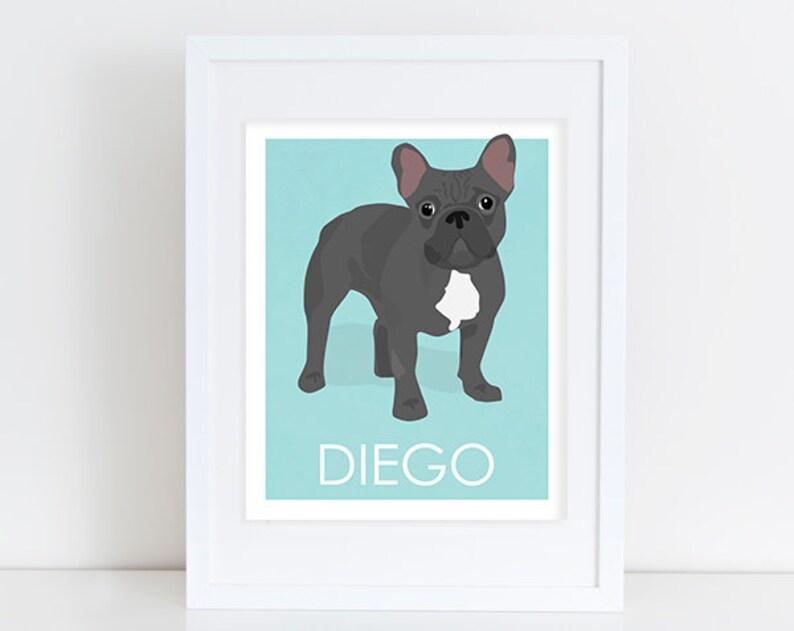 Custom Dog Art Black French Bulldog Art Print