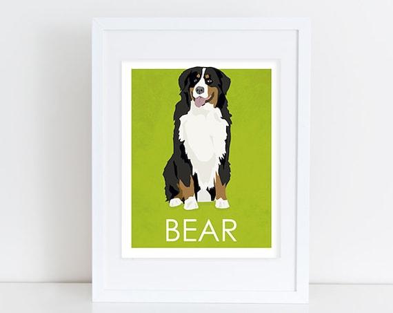 Bernese Mountain Dog Art Print Custom Dog Art