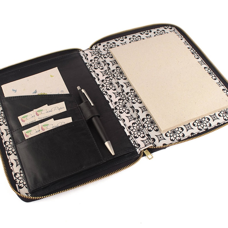 c66776c42de MAIDEN- A5 Leather Compendium, Fabric Lined, Multiple Pockets, Zip Closure,  Personalized & Cocoa Paper Note Pad.