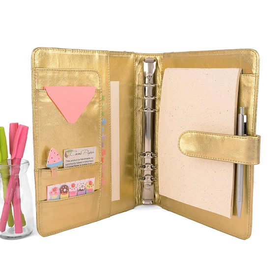 GOLD Classic A5 Leather Ring Binder Planner 6 Ring Lots Of