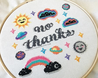 """Modern Cross Stitch Kit """"No Thanks"""" Modern Rainbow Sun and Moon Counted Cross Stitch Kit. Gift for her. Beginner Embroidery Hoop X Stitch"""
