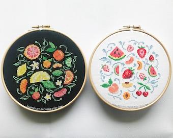 DIY Craft Kit Bundle. Citrus and Summer Fruit Modern Cross Stitch Kits. Lemon, Strawberry, Watermelon, Peach Print. Kitchen Cross Stitch.