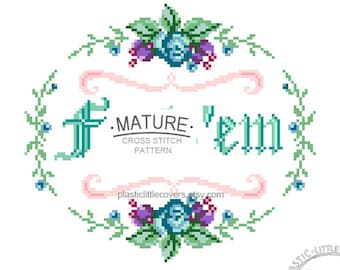 MATURE. F--k 'em. Modern Floral Cross Stitch Pattern. Digital Download PDF.