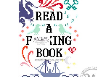 MATURE Modern Cross Stitch Pattern. Read a F-ing Book. Digital Download PDF.