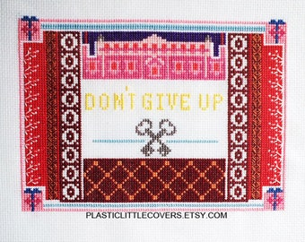 """Modern Movie Cross Stitch Pattern """"Don't Give Up"""" Inspired by the Grand Budapest Hotel, Wes Anderson. Digital Download PDF."""
