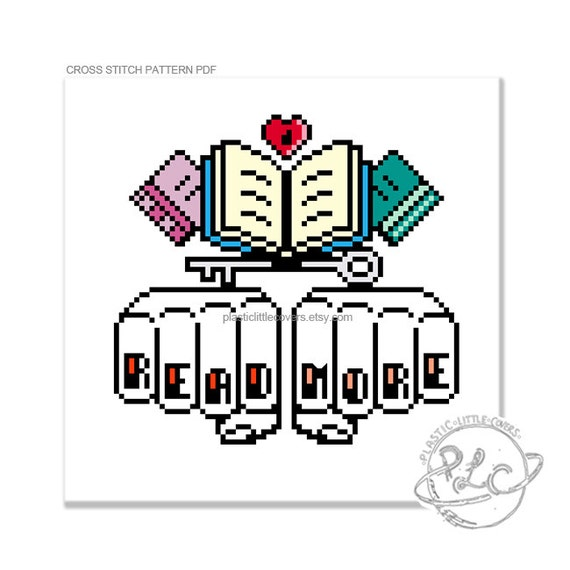 cross stitch pattern read more knuckle tattoo etsy