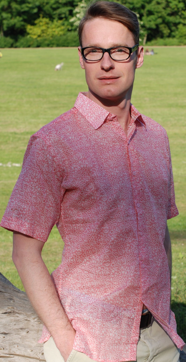 SALE Mens shirt pink floral and print on white base separate image 0