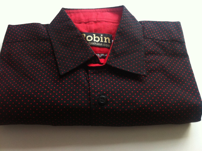 SALE Men's shirt black with red polka dots red block image 0