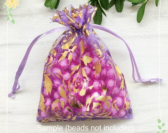 10 pcs Purple Rose Flower Gold Foiled Organza Bags 12cm x 8.5cm Wedding Gift Bags, Jewellery Packaging, Party Favor Bags, Drawstring MS105