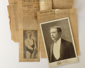 Early 1900s Studio Photographs, Antique Newspaper Memorabilia, Swedish Wrestler Albert Anderson, Military and Citizenship Documents