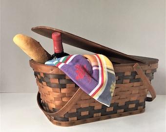 Vintage Picnic Basket, Folding Handles Hamper, Woven Splint Basket, Tailgate Camping, Outdoor Entertaining, Farmhouse Storage, Wedding Gift